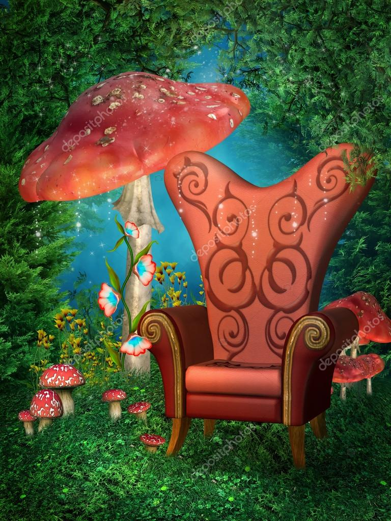 Red throne and mushrooms