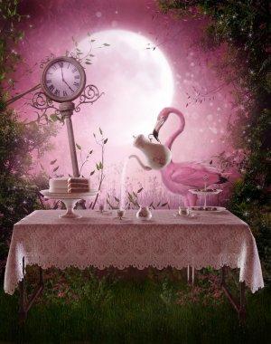 Fantasy garden with a flamingo