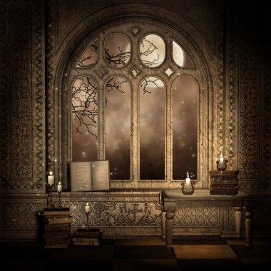Dark window with books