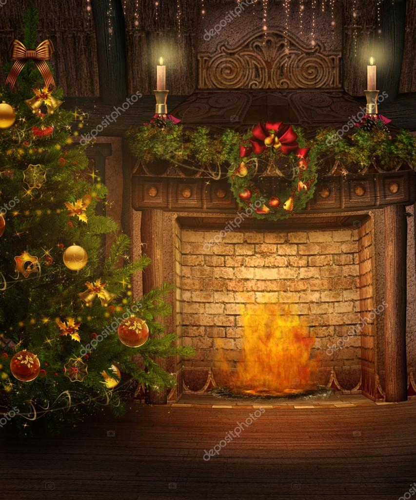 christmas fireplace u2014 stock photo fairytaledesign 13664411