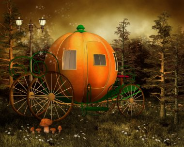 Pumpkin carriage in a forest