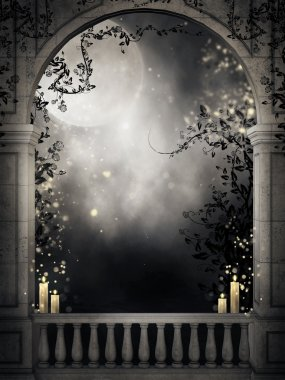 Old balcony with candles