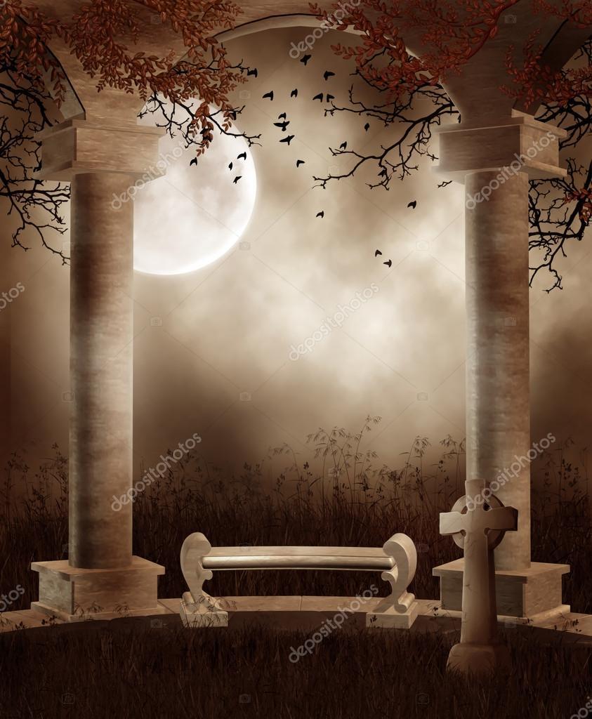 Autumnal gothic scenery