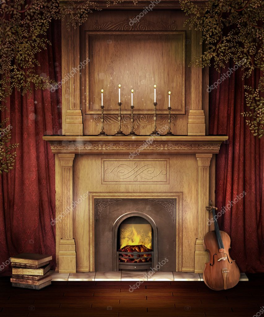 Old Fireplace With A Violin Stock Photo C Fairytaledesign 13895772