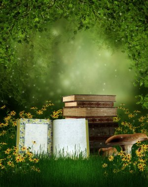 Fairytale books on a meadow