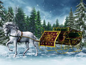 Vintage sleigh and a horse