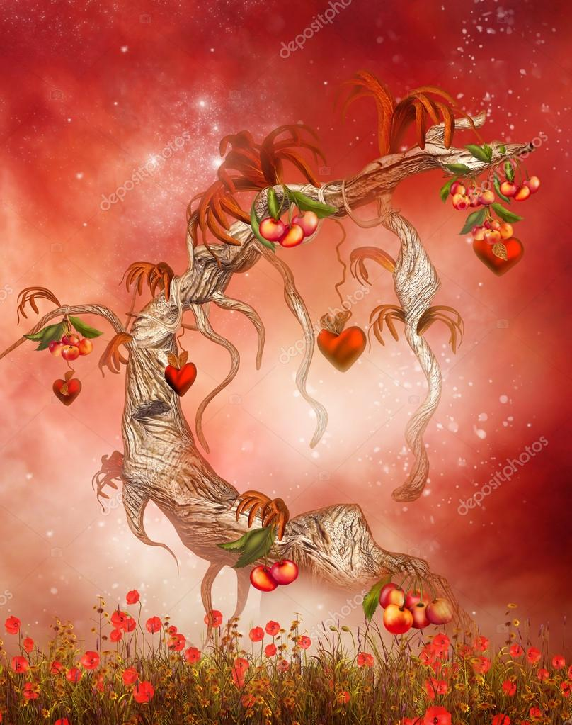 Magic tree with hearts and peaches