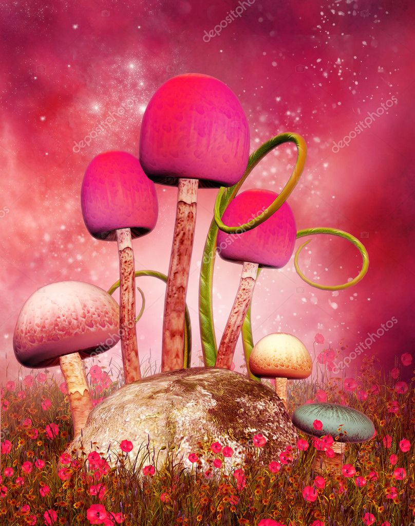 Magic mushrooms on a pink background