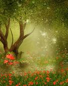 Fantasy strom u rybníka