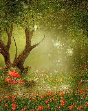 Fantasy tree by a pond