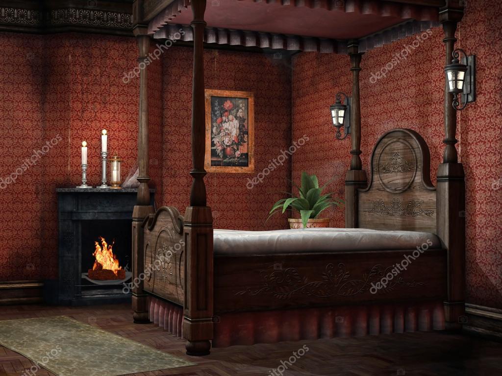 벽난로와 빈티지 침실 — 스톡 사진 © FairytaleDesign #24810421