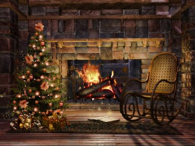 Cottage room with a Christmas tree
