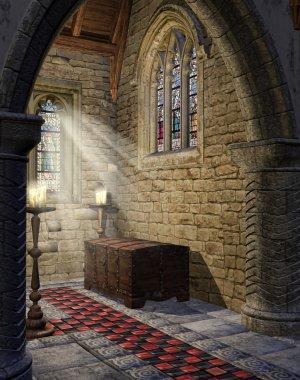 Medieval church aisle