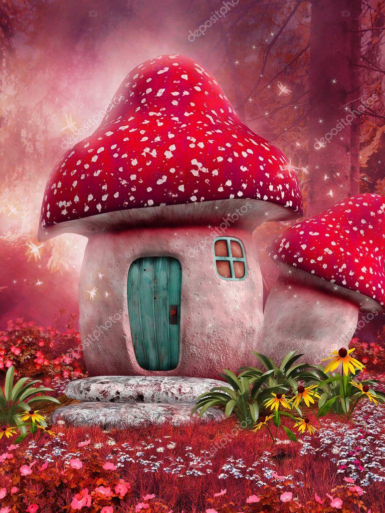 Фотообои Розовый гриб дом
