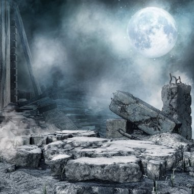 Night scenery with city rubble