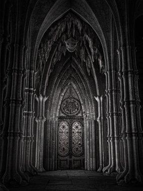 Door in a fantasy cathedral