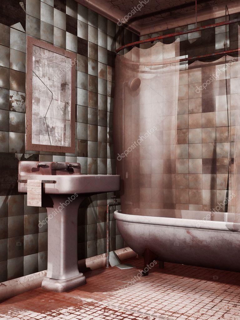 oude badkamer wastafel en spiegel stockfoto