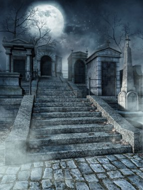 Old gothic graveyard with stone stairs at night stock vector