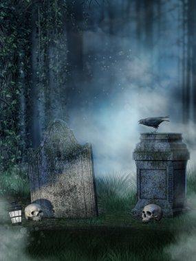 Headstones with skulls