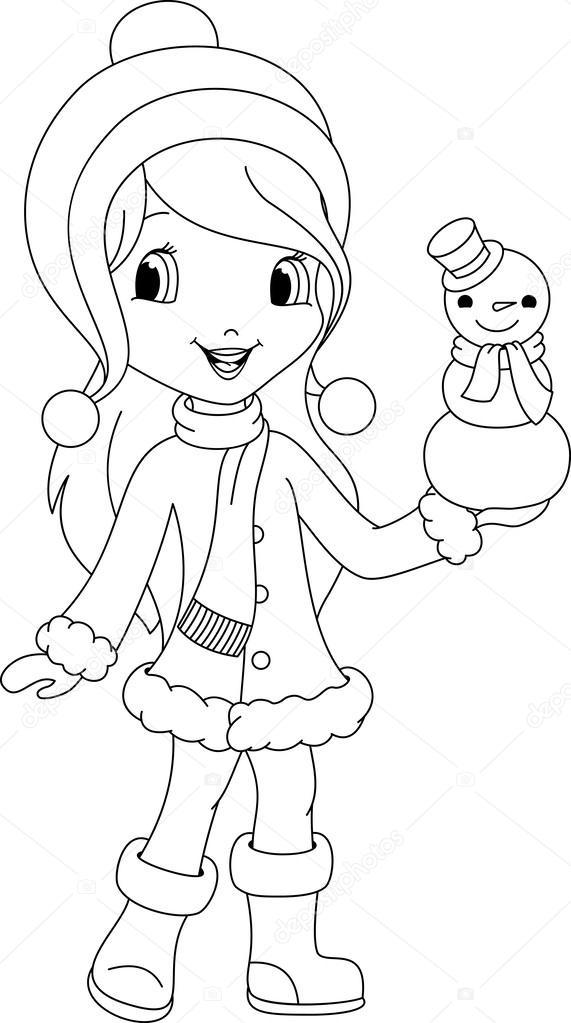 Kız Ve Kardan Adam Boyama Sayfası Stok Vektör Malyaka 41625871