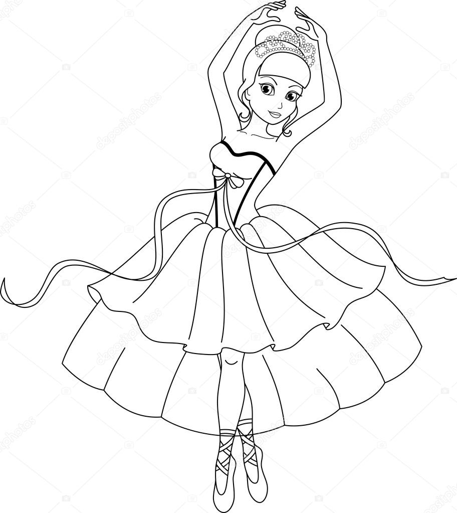 ballerina kleurplaat stockvector 169 malyaka 43384195