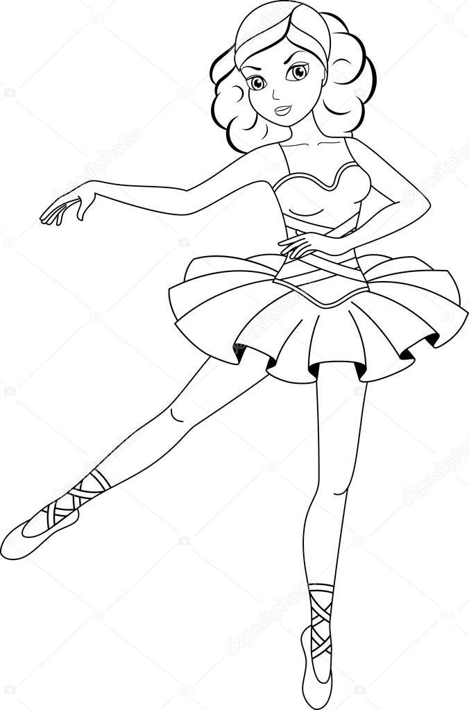 Ballerina coloring page — Stock Vector © Malyaka #43411487