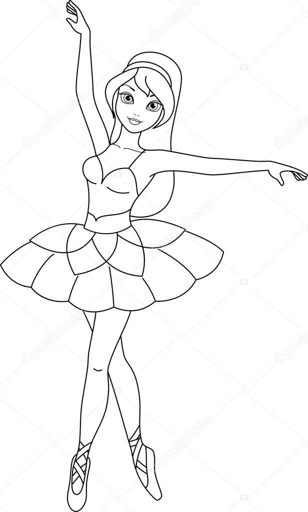 Página para colorear de bailarina — Vector de stock © Malyaka #43411489