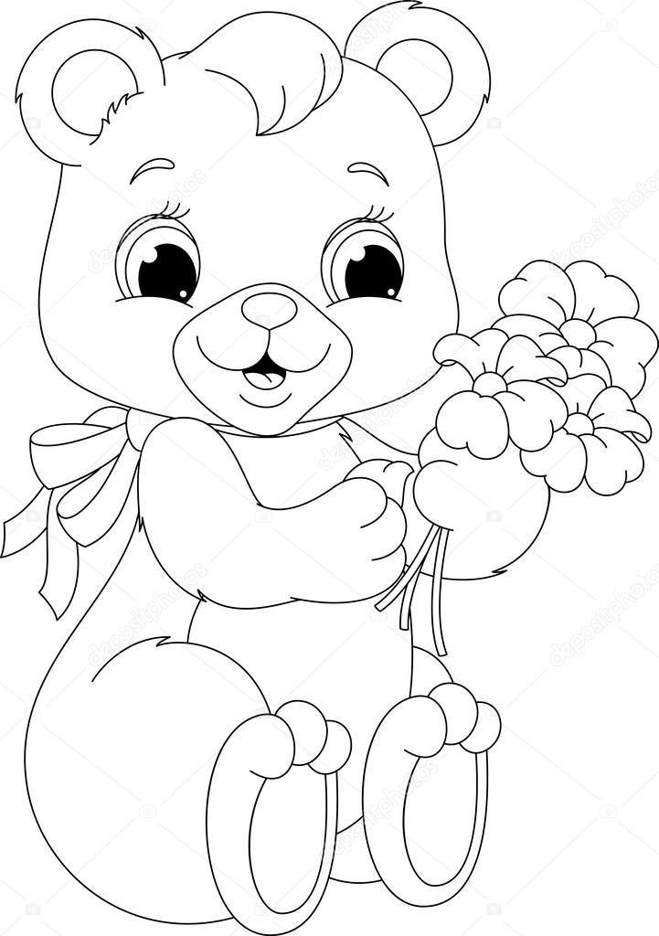 Página para colorear oso — Archivo Imágenes Vectoriales © Malyaka ...