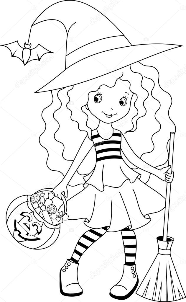 Cartoon witch coloring pages | Witch coloring — Stock Vector ...