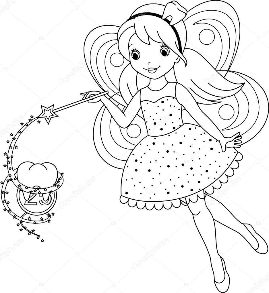Tooth fairy coloring page — Stock Vector © Malyaka #50002443