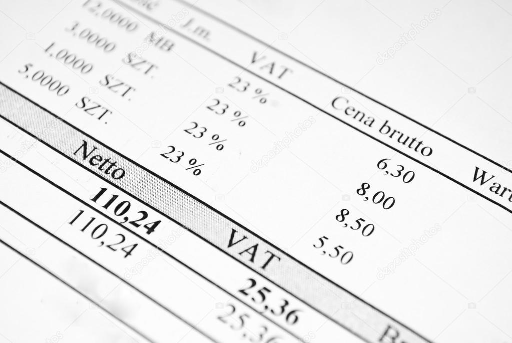 Rechnung Inkl Netto Brutto Preise Und Steuern Stockfoto Mattz90