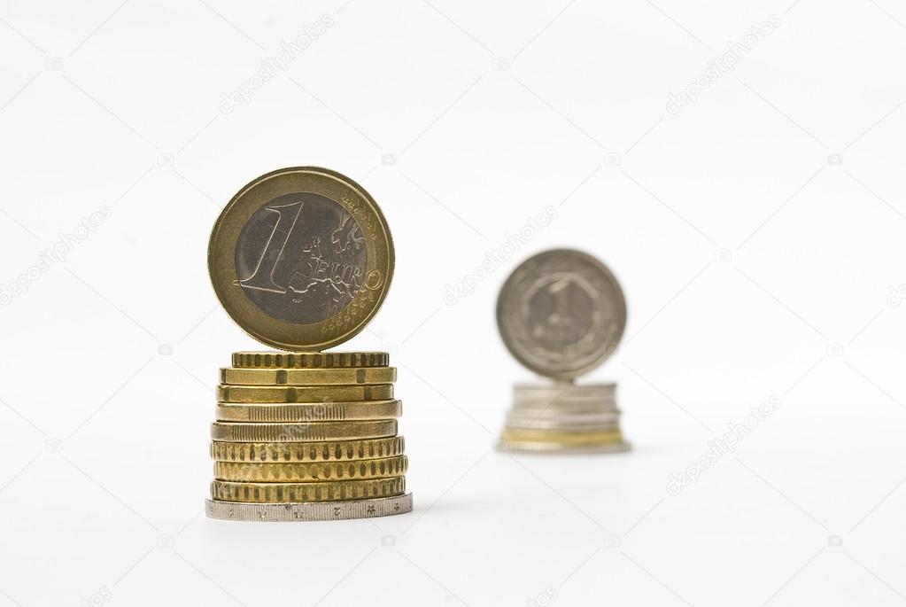 Haufen Geld Euro Und Zloty Münzen Währung Tarifvergleich