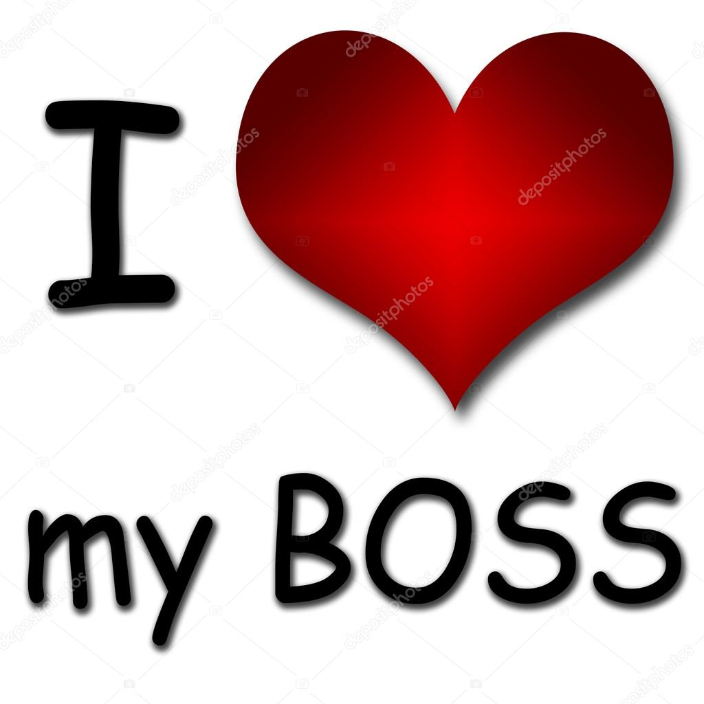 I Love My Boss Funny Concept Of Heart And Inscription Or Text Stock Photo