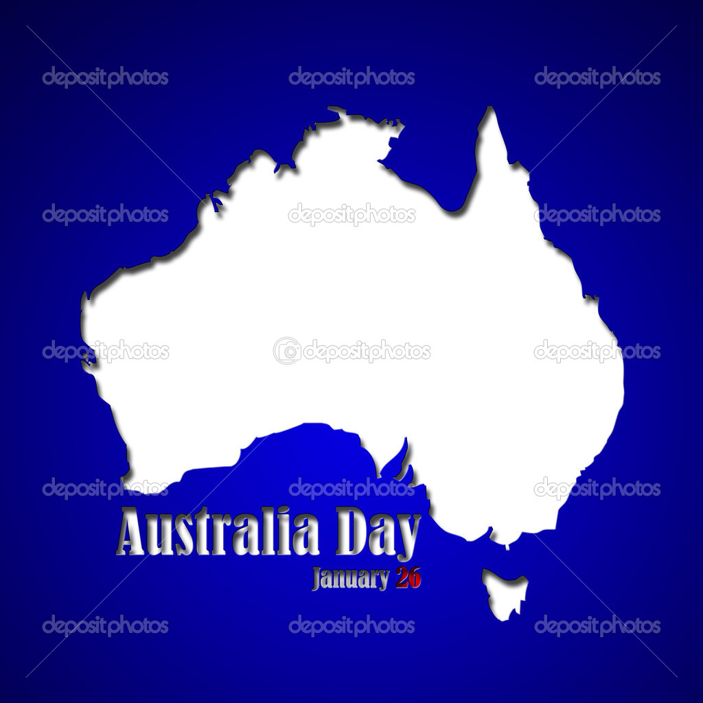 graphic design australia day related in shape of continent stock
