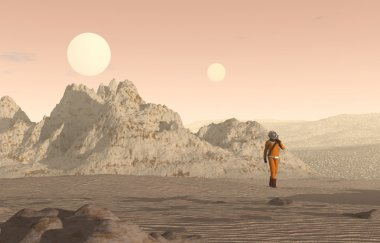 Man walking on a new planet