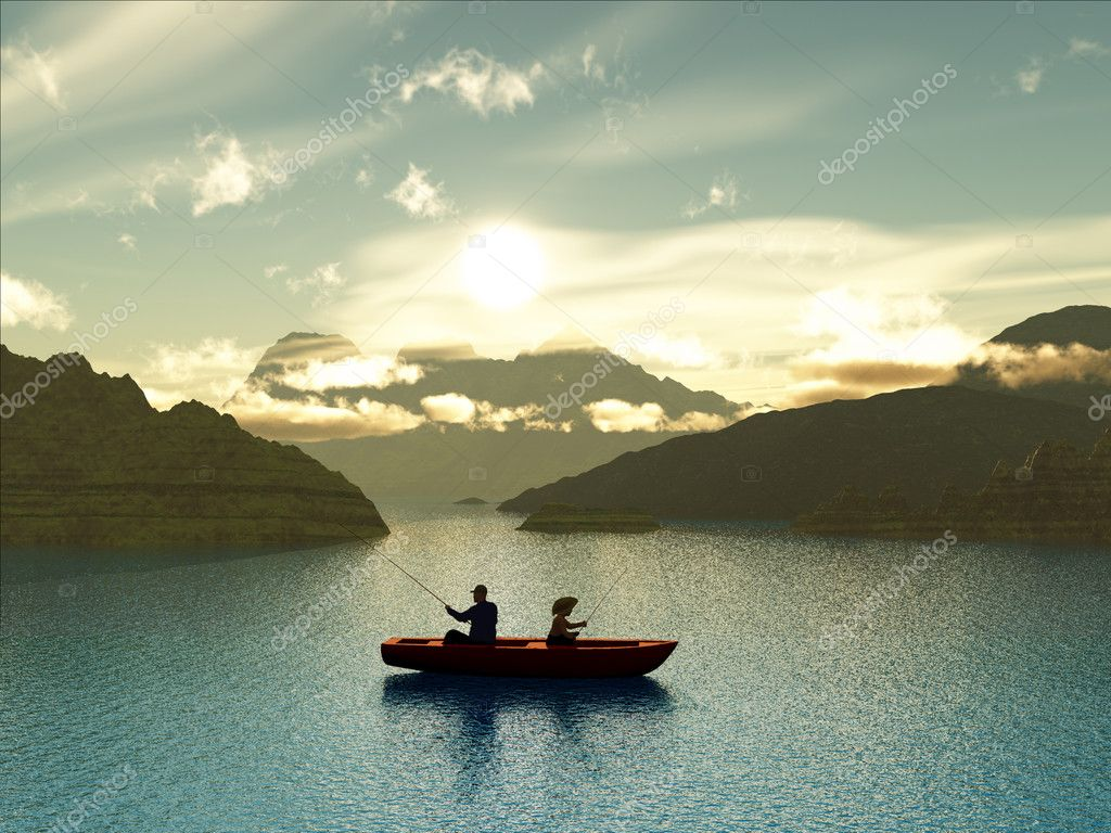 Man and boy fishing in a boat