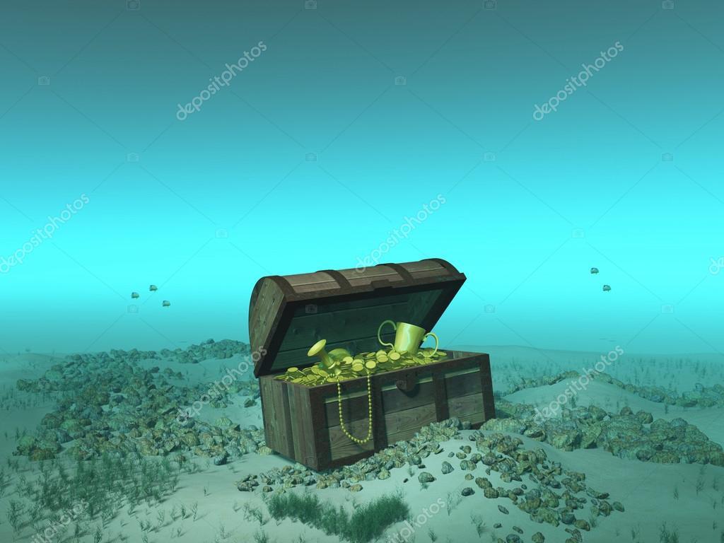 treasure chest under the sea stock photo estebande 17699789