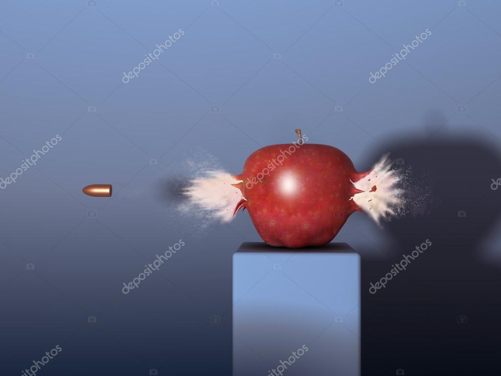 Bullet through an apple