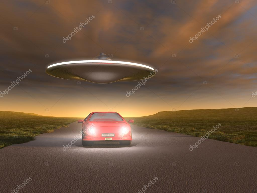 UFO flying over a car