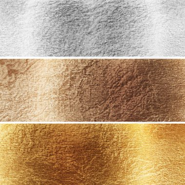 Aluminium, brass and golden plates with some reflected lights and reflections stock vector