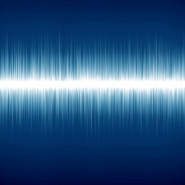 Bright sound wave on a dark blue background stock vector