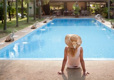 Woman in luxury spa resort