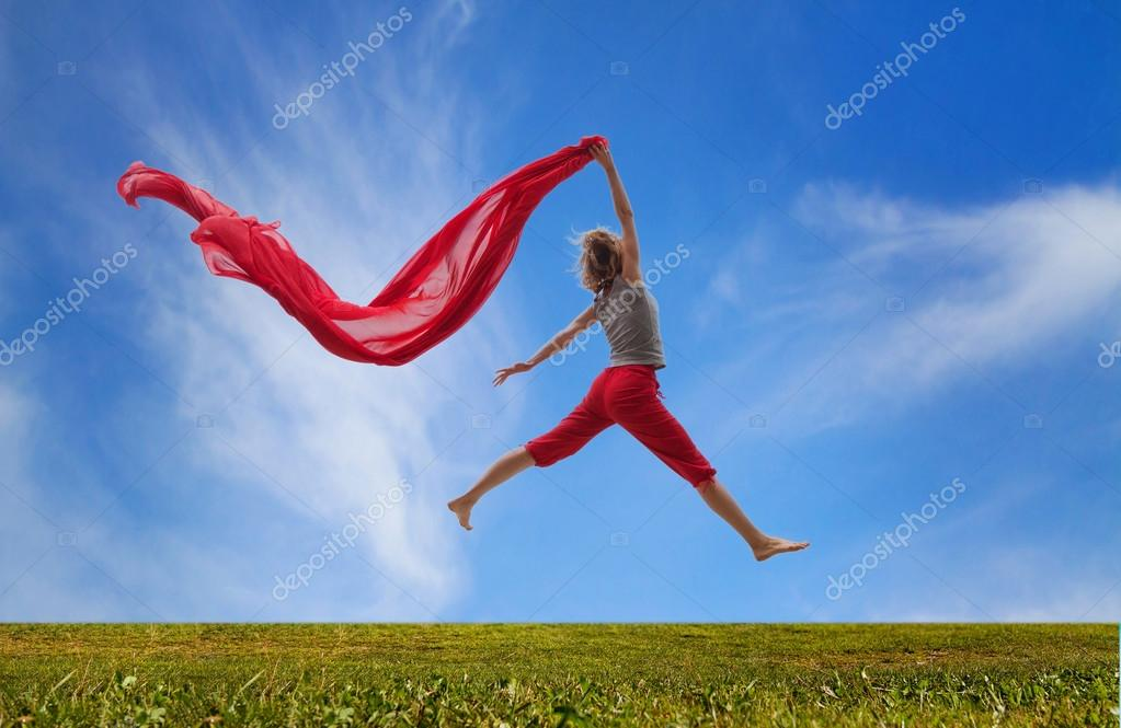 Girl jumping on the field