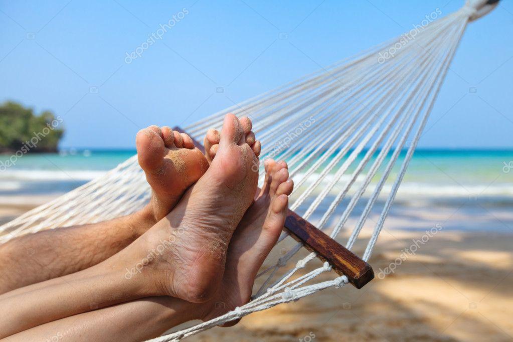 Couple on the beach in honeymoon