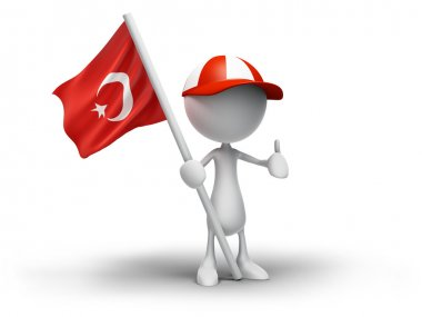 3D Human Holding Turkish Flag