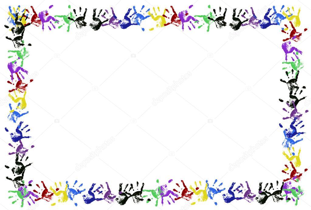 marco de mano impresión color niños — Foto de stock © lucato #13905363