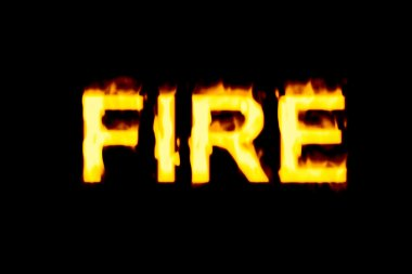siyah bir arka plan üzerinde kelime yangın