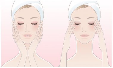 Beautiful young woman pressing temples, Touching her face after beauty treatment.
