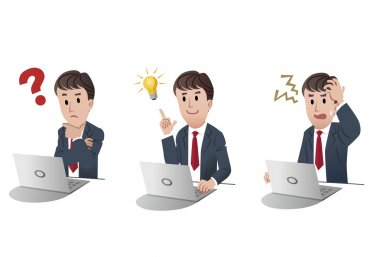 Set of businessman at a laptop comuter