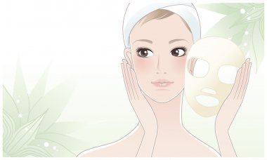 Beautiful girl, young woman touching her face after beauty mask on the green flower background.